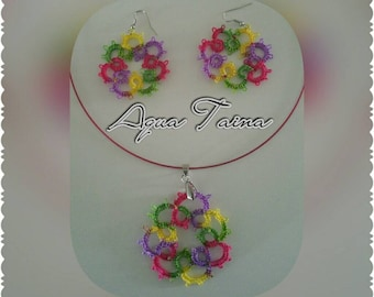 Tatting earrings and necklace set