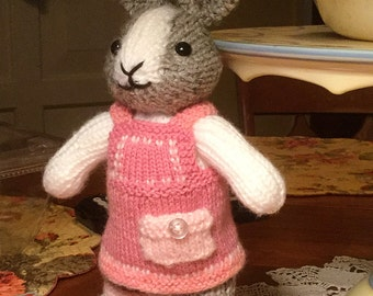 Made to Order - Hand Knitted Dutch Bunny - Stuffed Animal - Plushie