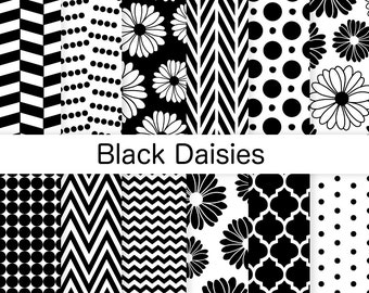 Black and White Digital Paper - Daisies