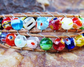 Beaded 2 Wrap Bracelet with 6mm Colorful Stones on Tan Genuine Leather