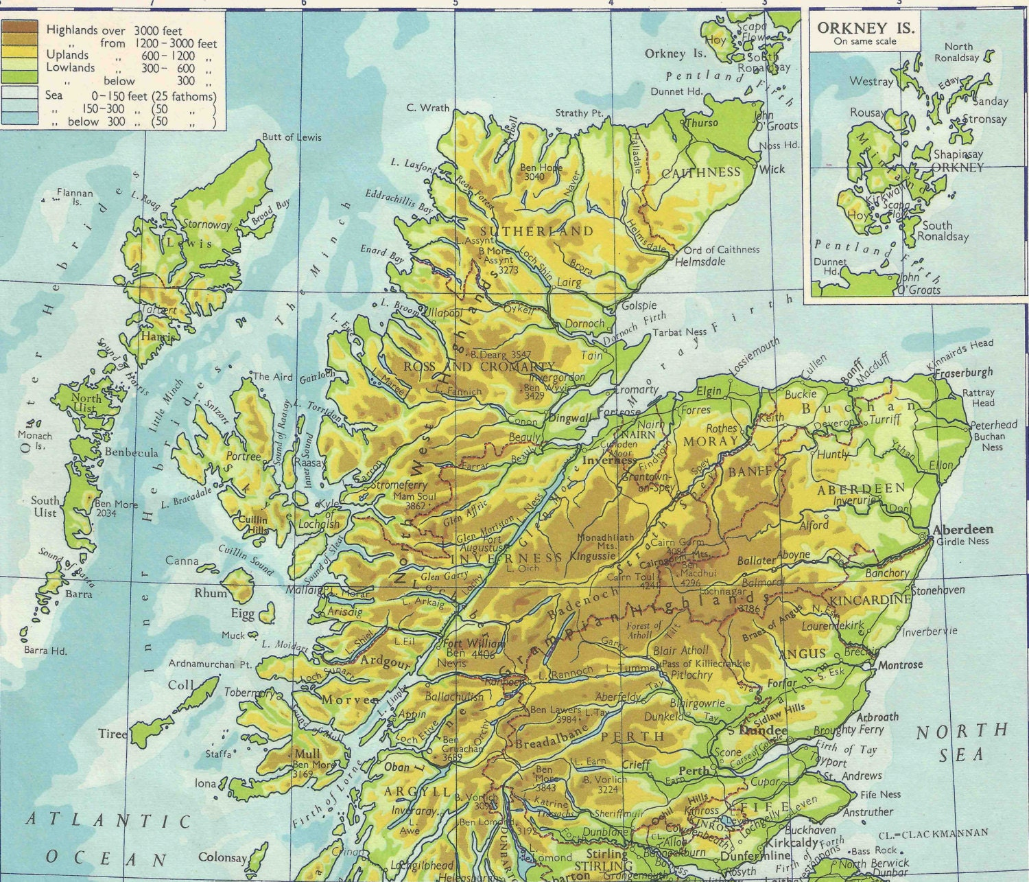 Physical Map Of Scotland travel adventure maps for home decor