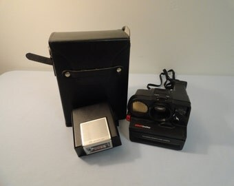 Polaroid Pronto Land Camera Sonar One Step With ITT Magic Flash and Carrying Case