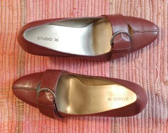 maroon leather pump heels 6.5 M