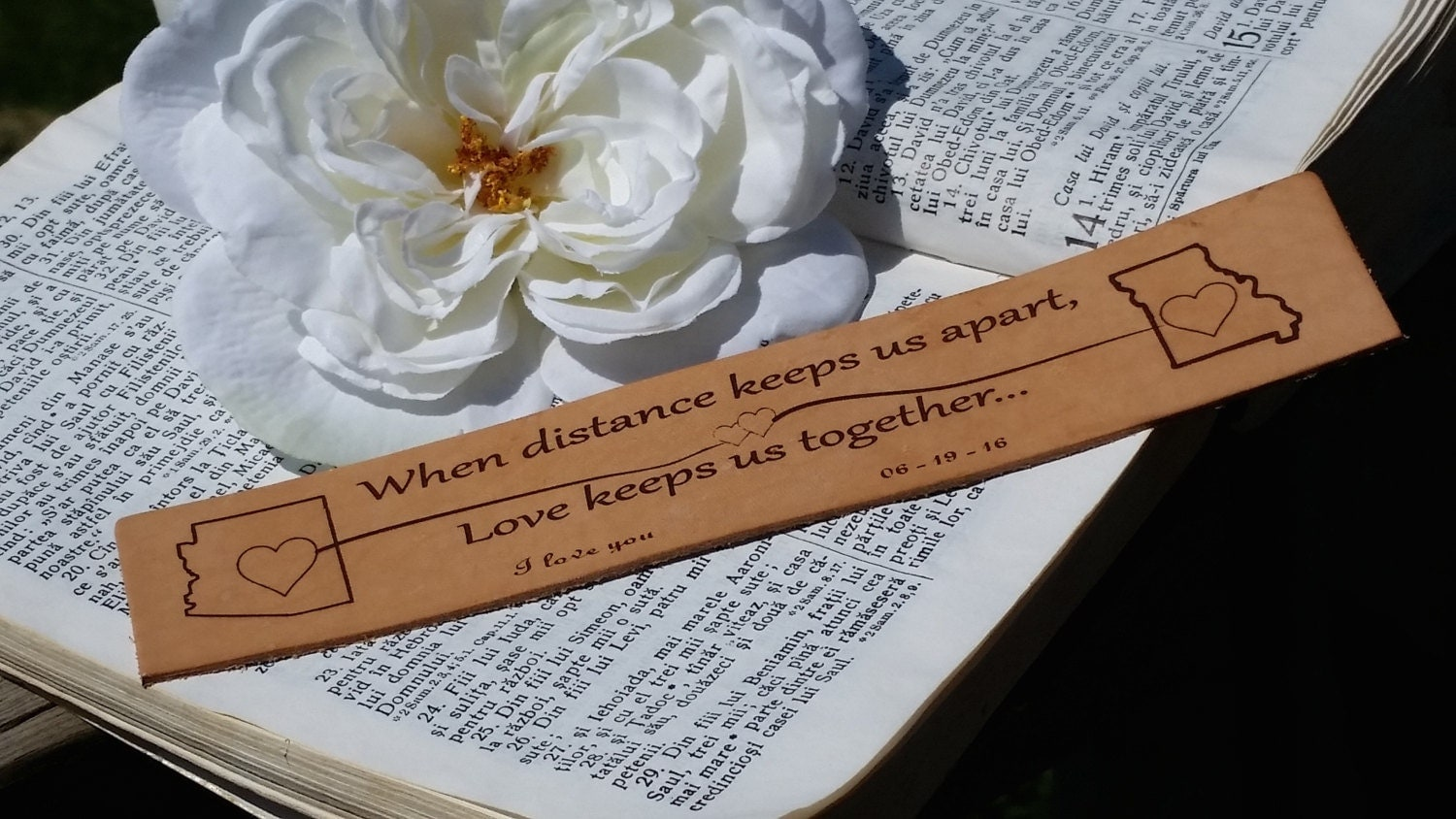 3rd Wedding Anniversary Gift For Husband: 3rd Wedding Anniversary, Custom Engraved Leather Bookmark