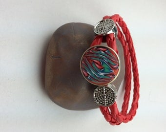 Polymer Clay Snap Button on red braided bracelet