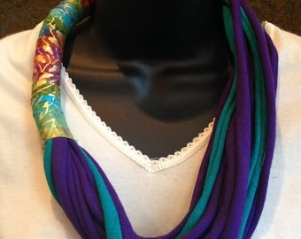 bright t shirt necklace with fabric wrap