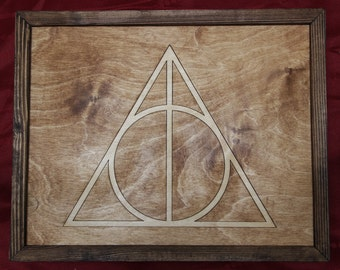 Harry Potter Deathly Hallows Wooden Inlay Wall Art