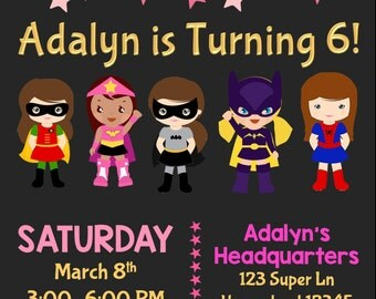 Super hero Girl Birthday Invitation