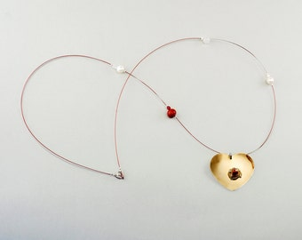 Gold heart necklace,  long necklace, free shipping jewelry, red coral jewelry, brass heart choker, big pendant, handmade gift under 30