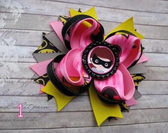 Batgirl bows Batman stacked Boutique hair bow Pink batgirl bows Superhero party Batgirl hair bow Batgirl inspired Batman hair bows Super bow