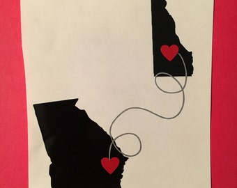State to State Love Heart Vinyl Decal