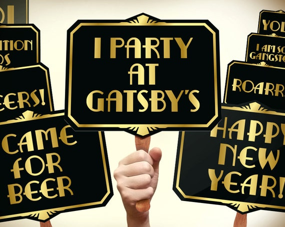 Great Gatsby Photo Booth Props Printable Pdf Gatsby Props