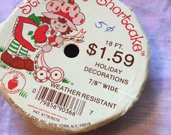 "Vintage 1981 Strawberry Shortcake Christmas Holiday Ribbon 7/8"""