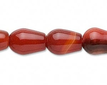 Red Agate Bead, Agate Teardrop, 11x10mm to 17x12mm, 4 each, D844