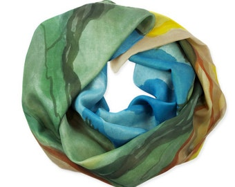 "Silk hand painted scarf ""Yellowstone"""