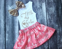 Little sister outfit, Baby girls clothing, big sister shirt, Baby shower, Pregnancy annoucement, pink and gold, twirl skirt,