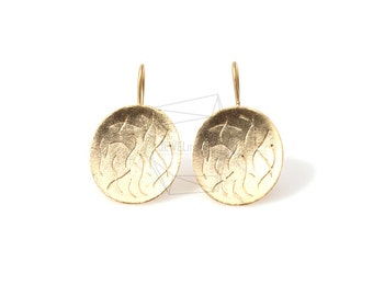 ERG-138-MG/2pcs/Round Textured Post Earrings/29mm x 17mm/Plated Over Brass