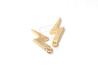 PDT-027-MG/5Pcs-Lightning Bolt Charms Connectors-Metal Lightning Charm-Matt Gold Plated Mini Lightning Pendant