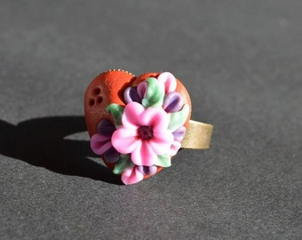 floral ring gift idea for her jewelry birthday gift heart ring birthday gift adjustable ring jewelry handmade flower ring cocktail ring