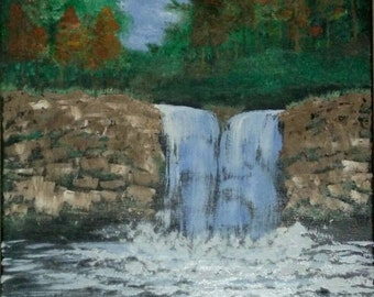 Contemporary Art, Wall Art, Home Decor, Wall Decor, Oil on Canvas, Landscape, Waterfall, 20x16, painting by Brushstrokes