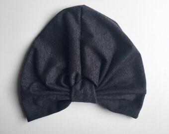 Dark Grey Jersey Turban Hat