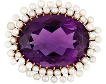Antique amethyst pearls 14 kt brooch | circa 1900