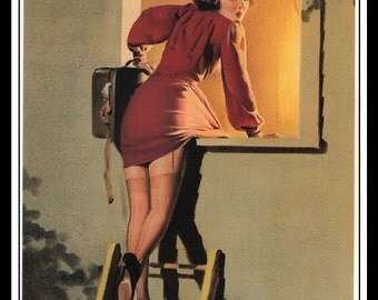 "Gil Elvgren Vintage Pinup Illustration ""A Lad-Her Problem"" Sexy Pinup Mature Wall Art Deco Book Print 5.5"" x 4"""