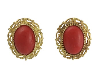 Vintage 18K Gold Red Coral Clip Back Earrings