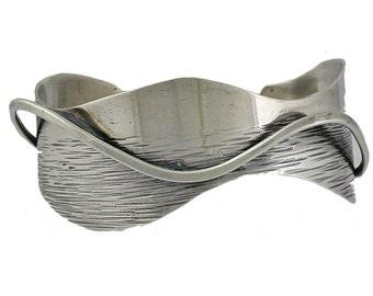 Esther Lewittes Sterling Silver Modernist Cuff Bracelet