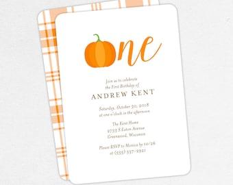 24 HOUR TURNAROUND First Birthday Invitation, Printable Invitation, Printed, Pumpkin Birthday, Neutral, Our Little Pumpkin is Turning One
