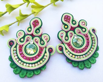Pink and green soutache earrings Soutache Jewelry Bridesmaid earrings Bridal Jewelry Statement Long Earrings Big Earrings Fashion Earrings