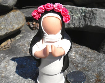 Saint Rose of Lima, Polymer Clay Saint figure, Catholic Saint Collectable, Patron Saint, Confirmation, First Communion Gift,