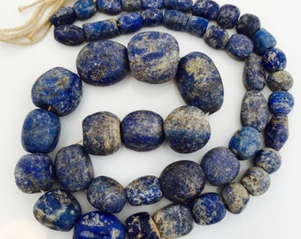 Antique Roman Blue Glass Beads in Graduated String.