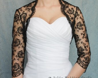 Black bridal cover up 3/4 sleeve bolero lace shrug lace wedding bolero shrug bolero bridal lace top black bolero bridesmaid accessories