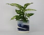 SECOND SALE****PLANTER Medium. Indigo Marbled. Ceramic flower pot/planter. Pottery everything vessel.