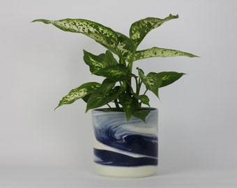 PLANTER Medium. Indigo Marbled. Ceramic flower pot/planter. Pottery everything vessel.