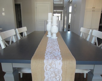 "Burlap and center panel white lace table runner - rustic wedding table runner - 12"" wide"