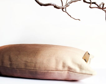 """Brown"", hand-dyed cotton pillow"