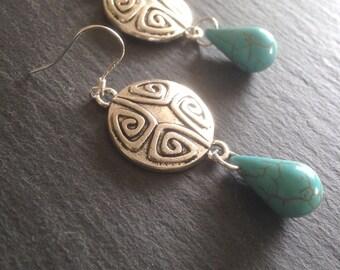 Turquoise Earrings • Turquoise Jewellery •  Bohemian earrings •  Ethnic  earrings • Dangle earrings
