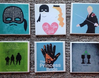 The Princess Bride Ceramic Tile collector Coasters New!!! Set of 6! Mix & Match