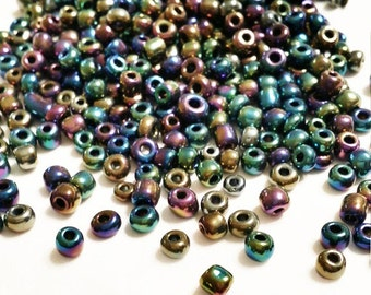 Iridescent Seed Beads Mix, Size 6 Seed Beads, Mardi Gras Beads, peyote stitch, brick stitch, 6/0 Seed Beads, 115 Grams Seed Bead, 8170