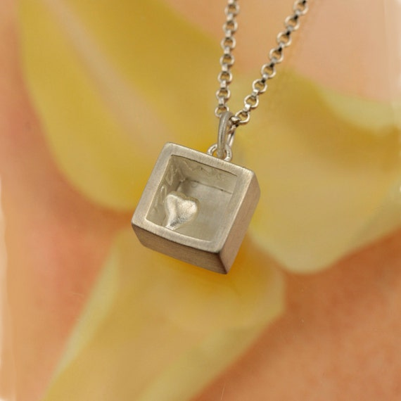 Heart Of Gold Matte Sterling Silver Cube Shaped Pendant And