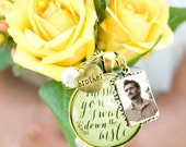 Customized Wedding Bouquet Memory Charm Missing You As I Walk Down the Aisle, Bridal Pendant Memorial Remembrance Photo Jewelry Family Charm