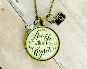 Live Life Without Regrets Inspirational Jewelry Motivational Pendant Keychain or Necklace to Live in the Moment with No Regrets Live Life