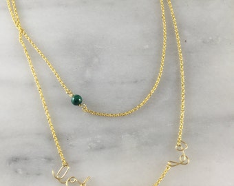 Let It Be Malachite and Gold Necklace