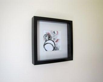 Original Abstract Printwork, Framed Printwork, Circles Abstract Printwork, 10 x 10 inches, Inspirational Printwork, Modern Artwork