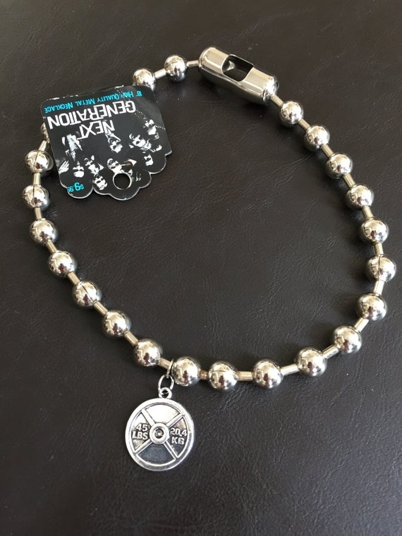 large bead fitness necklace with weight plate charm by