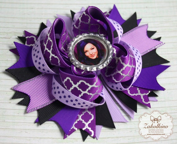 Disney Descendants Mal Inspired Stacked Hair Bow