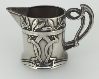 Art Nouveau 800 Silver Antique Milk Jug. Germany. Circa 1905.