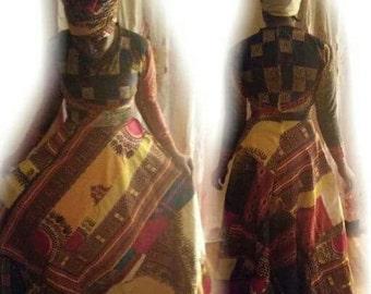 Dashiki patch skirt